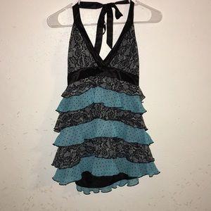 2B Bebe black and blue halter top size M